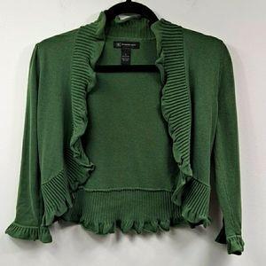 Like New! INC Green Ruffle Cardigan S